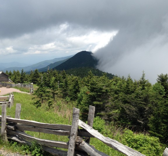 Fog rolling over the ridge below the summit of Mt. Mitchell.